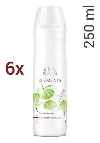 Wella Elements sulfatfreies Shampoo 6 x 250 ml für trockenes-sprödes Haar Professionals Care (Elements Wella Shampoo)