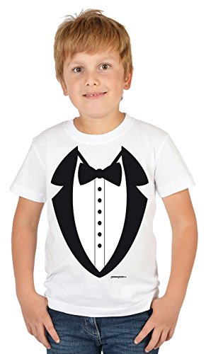 Kinder Smoking T-shirt (Lustiges Motiv T-Shirt für Kinder Krawatte Fake Anzug : Smoking - T-Shirt Kinder Anzug Gr: XS)