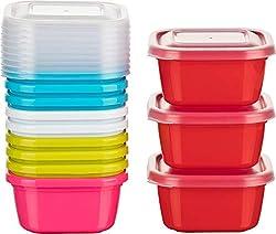 Kigima Mini-Tiefkühldose Frischhaltedose 300ml quadratisch 12er Set bunt zufällige Farben