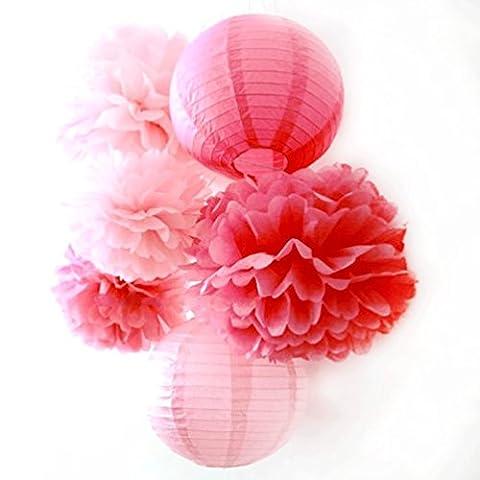 SUNBEAUTY Lot de 6 Série Rose Fuchsia Pompon Papier de Soie Lanterne pour Decoration Mariage Anniversaire Saint