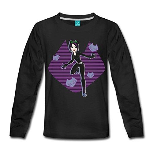 DC Super Hero Girls Catwoman Masken Kinder Premium Langarmshirt von Spreadshirt®, 98/104 (2 Jahre), (Superhelden Girl Cool)