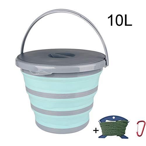 ZDST Faltbarer Kunststoffeimer 10 l/Faltbarer Eimer mit Deckel, Clip und Seil zum Angeln im Garten für Camping in der Küche - Springs Wohnwagen