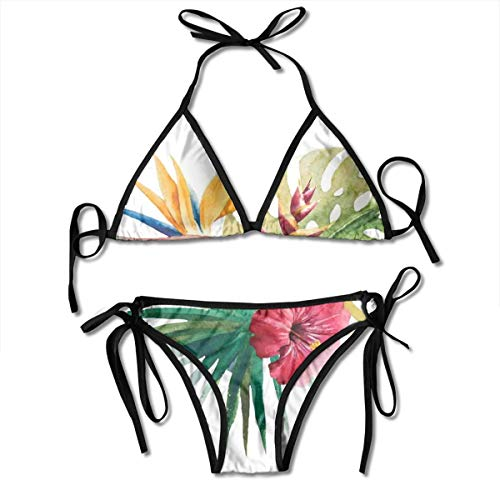 Orchid Underwire (Jiger Adjustable Bikini Set Halter Ladies Swimming Costume, Wild Tropical Orchid Flower with Large Leaves Exotic Tropic Petals Picture,Halter Beach Bathing Swimwear)