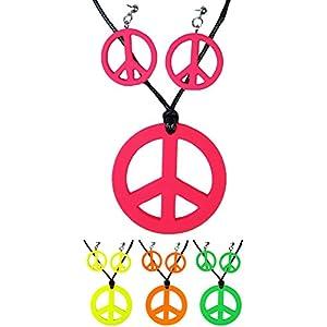 Hippie Peace Schmuck Set 3-tlg. – Peace Ohrringe und Kette zum 70er Jahre Retro Kostüm