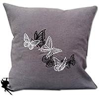 Light & Dark Butterflies Kissen Leinen Schmetterlingskissen