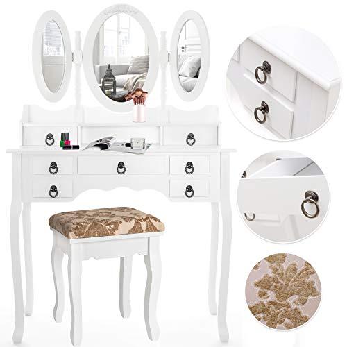 Kesser® Schminktisch luxuriös Weiß Kosmetiktisch Frisierkommode Spiegel Schubladen Hocker | Schminkspiegel | Frisiertisch | Farbe: Weiß (Die Polster Durch Schraube Stoff)