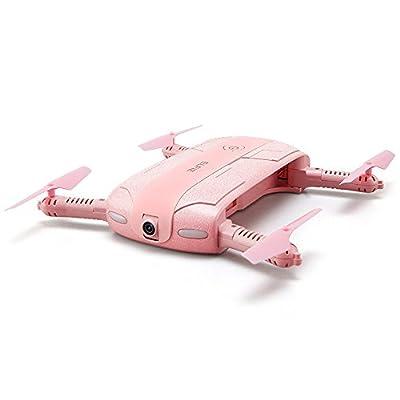 JJRC H37 Pocket Selfie Drone Mini Wifi FPV Headless Mode 2.0MP Selfie Camera Foldable Drones (Pink)