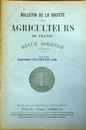 BULLETIN DE LA SOCIETE DES AGRICULTEURS DE FRANCE du 01/08/1917