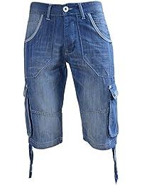 Hommes Crosshatch Kanaster Short Cargo Jeans Poches Multiples Longueur Genou Pantalon