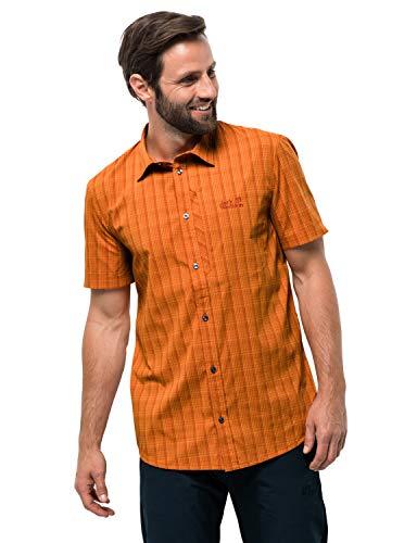 Jack Wolfskin Herren Rays Stretch Vent Shirt Hemd, Desert orange Checks, XXL