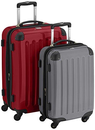 HAUPTSTADTKOFFER - Alex - 2er Koffer-Set Hartschale glänzend, 65 cm + 55 cm, 74 Liter + 42 Liter, Graphit-Blau Rot-Titan