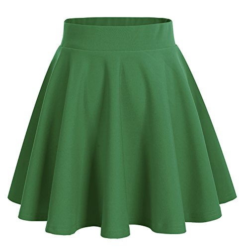 dresstells-basic-solid-versatile-stretchy-flared-casual-mini-skirt-green-m