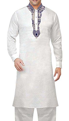 INMONARCH Mens weiße Bettwäsche Kurta Pyjama Silber bestickt KP60480MEDIUM M (MEDIUM)) Weiß -