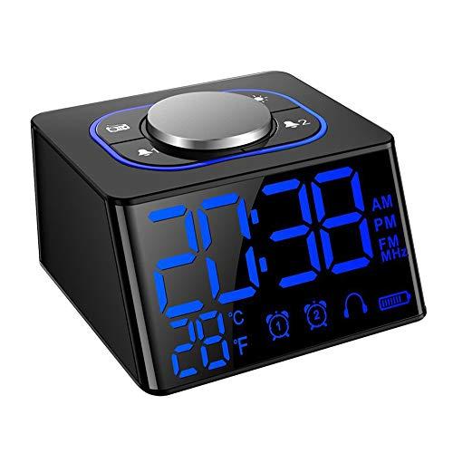 JALAL FM Radiowecker, Dual-Alarm Digitaler Wecker, Radio GroßE LCD Anzeige Dual USB-Ladeanschluss Snooze-Funktion Innenthermometer Helligkeit Stunden Batteriebetrieben GeräUschlos Tischuhr Schwarz (Batteriebetrieben Duale Wecker)