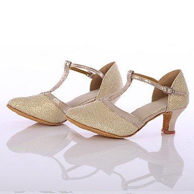 Scarpe da ballo-Personalizzabile-Da donna-Balli latino-americani-Tacco su misura-Brillantini-Argento / Dorato golden