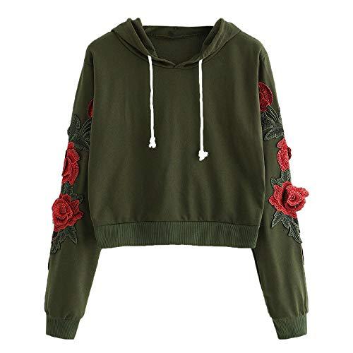 Damen Pullover Sweater, FGHYH Damen Langarm Floral Bestickt Mit Kapuze Rundhals Sweatshirt Bluse Tops(XL, Armeegrün) -