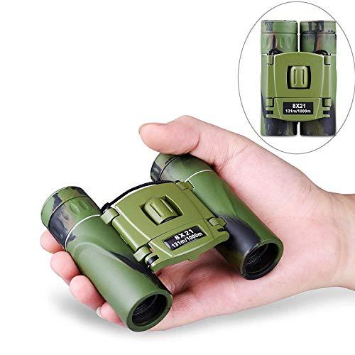 Cannocchiale, Mini binocolo impermeabile antiappannamento per adulti e bambini ad alta potenza luce bassa con visione notturna, 8 x 21 portatile tascabile pieghevole