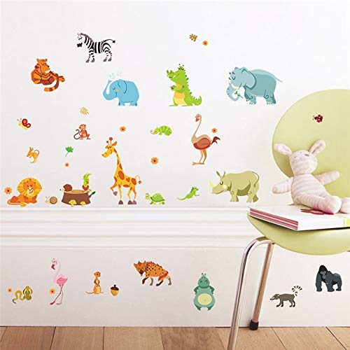 Jungle Animals Wall Stickers for Kids Rooms Safari Nursery Rooms Baby Home Decor Poster Monkey Elephant Horse Wall Decals - Safari Room Decor