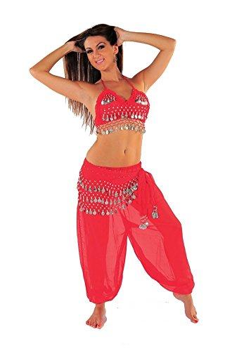 Miss Belly Dance Bauchtanz halloween-kostüm-set harem pantshalter spitze der bauchtänzerin für damen MittelGroß Rot/silber