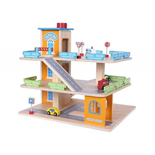 Eco Toys Parkgarage Parkhaus Holz-Spielgarage Lift Auto Garage Holzgarage Kinder Holzspielzeug + Zubehör