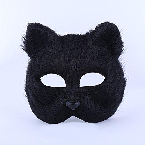 JoyFan Fox Half Face Maske Kostüm Pro für Masquerade Halloween Thema Party, Plastik, Schwarz, Einheitsgröße