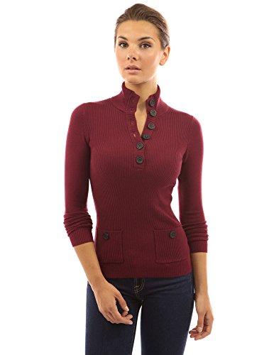 Burgund Gerippt (PattyBoutik Damen V-Ausschnitt Pullover mit Knöpfen gerippt (Burgund 44/L))