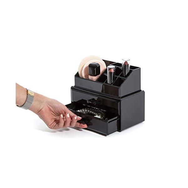 Compactor 2cassetto Gioielli e Trucco organizzatore, Nero 3 spesavip