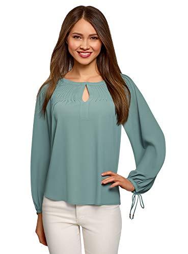 Oodji Collection Mujer Blusa Ancha Lazos Puños, Verde