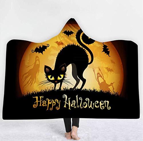 Kapuzen Decke, Halloween-Kostüm-Ideen 3D Bunte Muster Druckdecke, Superweiche Gefüllte Plüschdecke, Perfekte Camping-Decke Sofa Decke Bett Deckel Reisedecke,C,51In*60In (Bunte Kostüme Ideen)