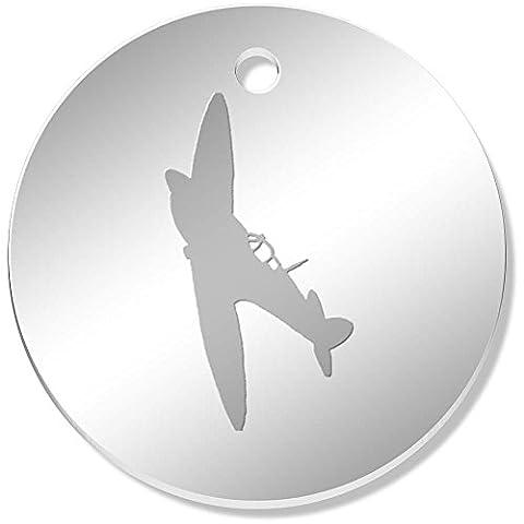 11 x 34mm 'Avion Spitfire' pendentif miroir (PN00022598)