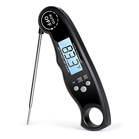 Sonde alimentaire Rophie - Thermomètre digital à lecture instantanée - Thermomètre à viande - Thermomètre de cuisine avec rétro-éclairage LCD / Sondes pliante pour Pâques, les Barbecues, pour le Four, pour la préparation de bonbon, pour la cuisson de la Viande et aussi pour le Vin (noir)