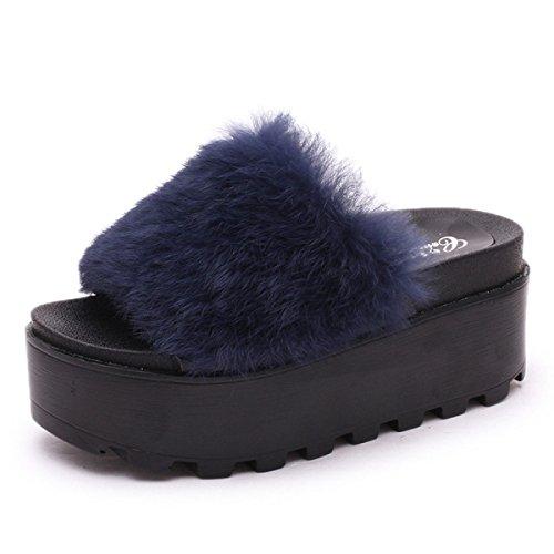 Della Piattaforma Gshga Di Nuovi Pan Spagna Donna Lana Sandali Estate Blu Pantofole Sandali qx4fR