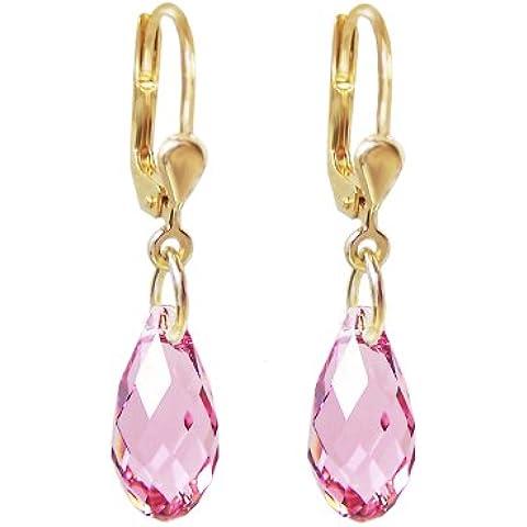 Placcato oro Orecchini con SWAROVSKI ELEMENTS Briolette cristallo colore: Light Rose (rosa), Orecchini oro-fondo - Swarovski Cristallo Briolette Orecchini