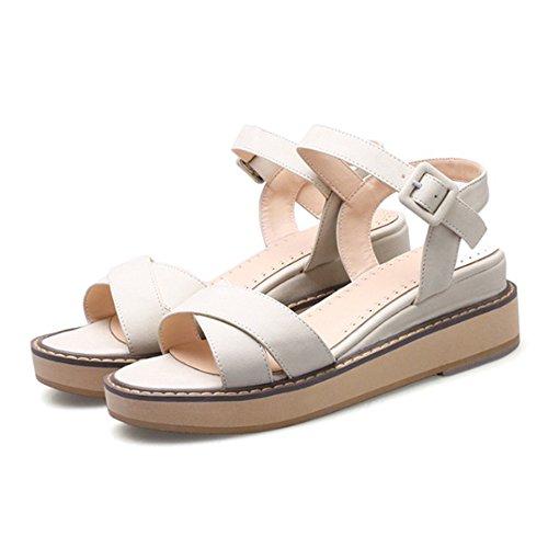 Femme sandales plates talon compensé semelle anti-patinage plateforme 5cm Blanc