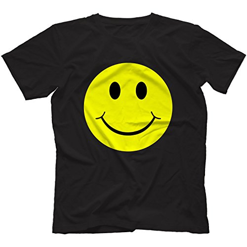 Men Acid House Smiley Face T-Shirt, Black - S to XXXL