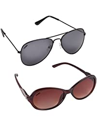 Criba Combo Of 2 Cat Eye (Brown) Aviator (Black) Unisex Perfect Fit & Stylish Sunglasses Ldy Brn+aviblack_CRLK03