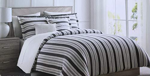 Restore-Bettwäsche-Set, gestreift, Baumwolle, für King-Size-Bett, vertikale Streifen, Grau und Creme, luxuriöses Bettwäsche-Set im Vintage-Stil, 100% Baumwolle, Bettdeckenbezug mit Kissenbezügen