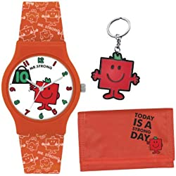 Mr Men and Little Miss Boy's Quartz Watch with White Dial Analogue Display and Red PU Strap LM0006SET