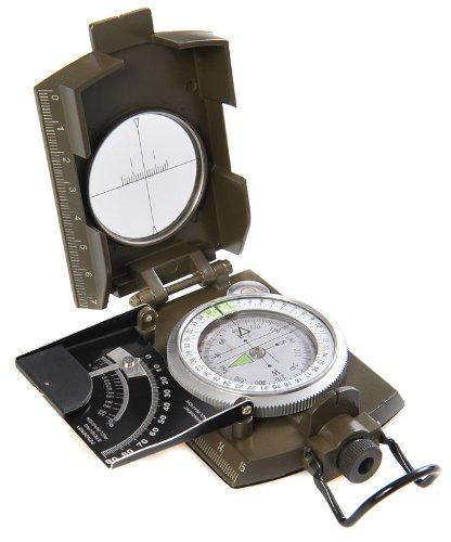 Huntington Kompass MG-XL Camo Militär Marschkompass / Peilkompass Premium Qualität und Metallgehäuse in XL-Größe - Neuheit: Neigungsgradient in Grad und Prozent, professionell flüssigkeitsgedämpft, bundeswehrgrün, (K4074 DE)