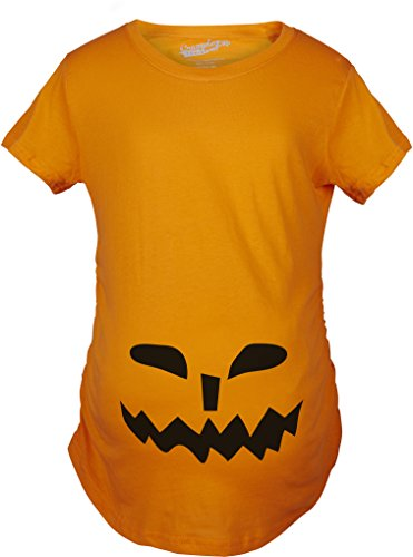 Und Sohn Kostüme Halloween Baby Mutter (Crazy Dog TShirts - Maternity Spikey Teeth Pumpkin Face Halloween Pregnancy Announcement T shirt (Orange) L - damen -)