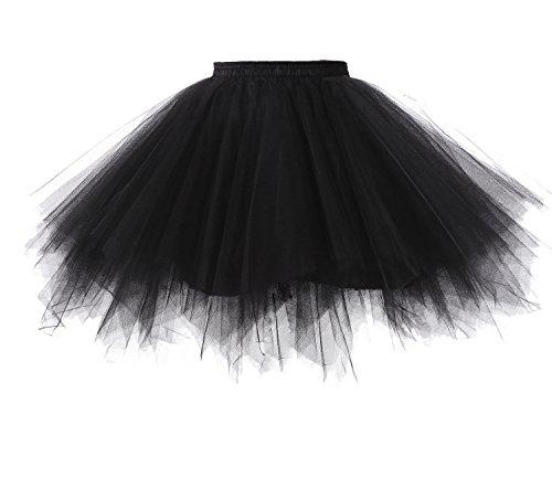 Poplarboy Damen Kurz 50er Vintage Petticoat Reifrock Mehrfarbengroß Unterröcke Braut Crinoline Ballett Blase Tutu Ball Kleid Underskirt Schwarz