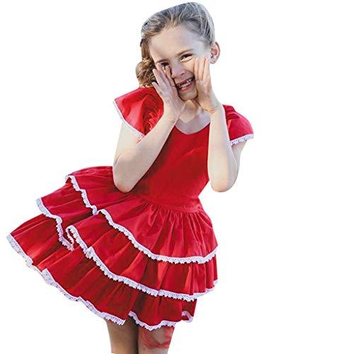 MRURIC Prinzessin Kleid ✿ Sommer-Kleinkind-Baby-Mädchen Fliegenhülsen-Spitze Kleid-Kleidung, Kinder Mädchen Verkleidung Karneval Faschingskostüm Party Halloween Festkleid