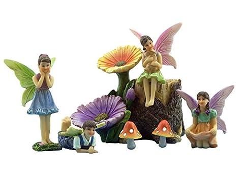 Pretmanns Ensemble de jardin de fées avec fées et accessoires–Coloré kit Y Compris 7miniature pièces