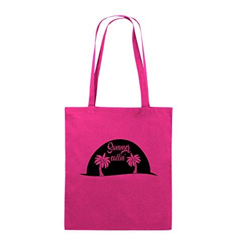Comedy Bags - Summer callin - PALMEN - Jutebeutel - lange Henkel - 38x42cm - Farbe: Schwarz / Pink Pink / Schwarz