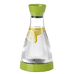 Emsa 508953 Wasserkaraffe mit Kühlelement, 1 Liter, Automatische Verschlussklappe, Kunststoff, Hellgrün, Flow Friends