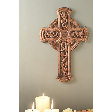 Store Indya, 18 X 12 di legno Christian Cross Parete Con Rich Mahogany Finish per ufficio e casa