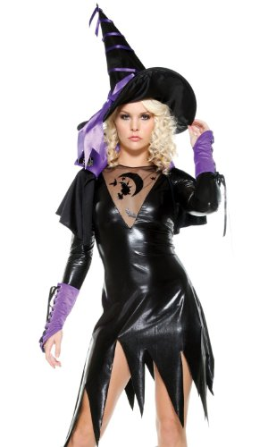 Kostüm Hexe Spellbound - Fourever Funky Damen Sexy Wicked Hexe Spellbound Sexy Halloween-Kostüm Gr. X-Small/Small, schwarz