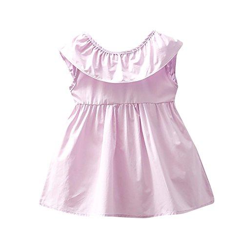 �rmellos Neugeborene Kleinkind Baby Mädchen Volltonfarbe beiläufige Prinzessin Freizeit Dress Clothes Partykleid ()