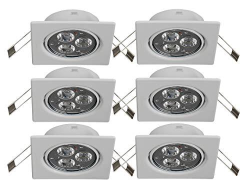 Lot de 6 spots encastrables Trango TG6729-066SHP-Carrés-Blancs-Avec 6 ampoules LED de 4,2 W à haute puissance et 6 boîtiers de connexion de sécurité GU10-230 V direct