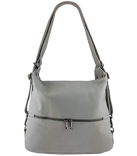 Freyday 2in1 Handtasche Rucksack Designer Luxus Henkeltasche aus 100% Echtleder (Hellgrau)